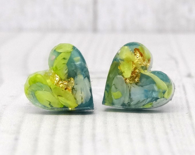 Featured listing image: Real flower earrings, daisy petal studs, real flower jewelry, heart earrings, eco friendly jewellery, pressed flower jewelry