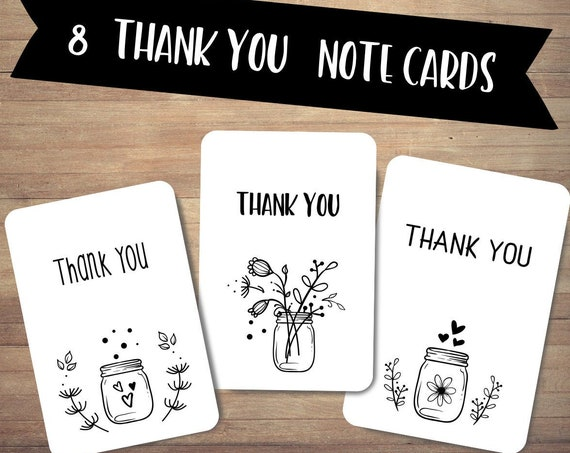 Thank you note cards set, Set of 8 thank you cards, Scrapbooking Cards, cute stationery, handmade happy mail cards, recycled card