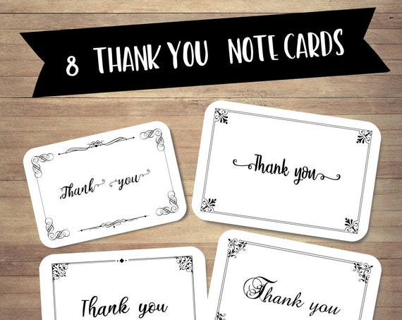 Thank you note cards set, Set of 8 thank you cards, Scrapbooking Cards, Floral stationery, handmade happy mail cards, recycled card