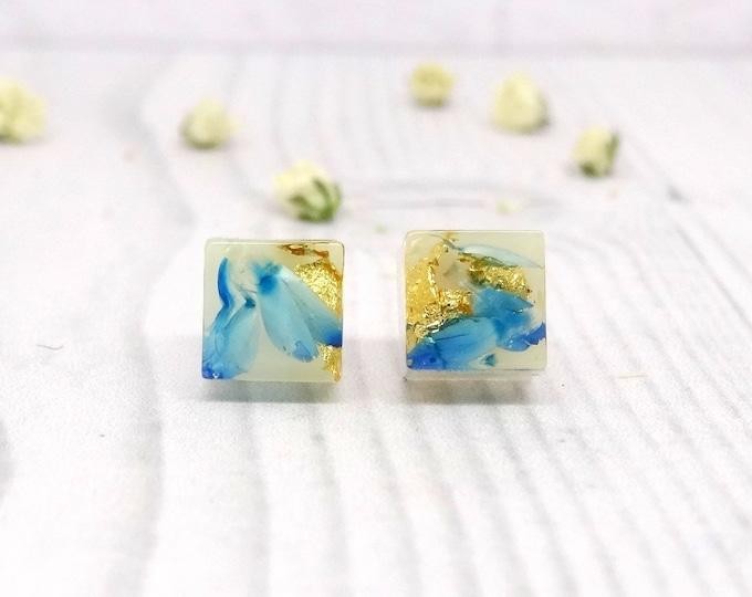 Featured listing image: Real flower earrings, real flower jewellery, sterling silver earrings, handmade gift for her, bridesmaid gift, minimalist earrings