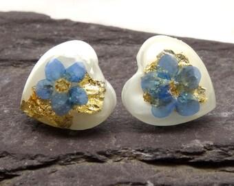 Forget me not earrings, heart stud earrings, real flower earrings, silver earrings, unique gift for her