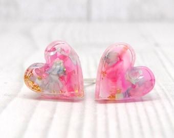 Real flower earrings on sterling silver studs, heart shape earrings, earth jewelry, fairy earrings, real flower jewelry