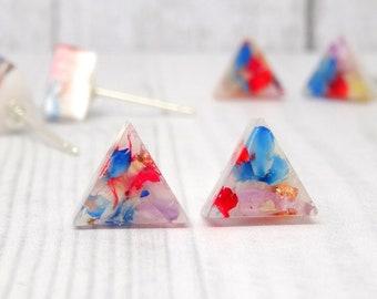 Real flower earrings, real flower jewellery, sterling silver earrings, handmade gift for her, bridesmaid gift, minimalist earrings