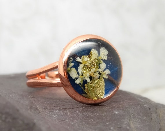 Real flower ring, unique jewellery, adjustable ring, handmade real flower jewellery, gift for her, terrarium ring