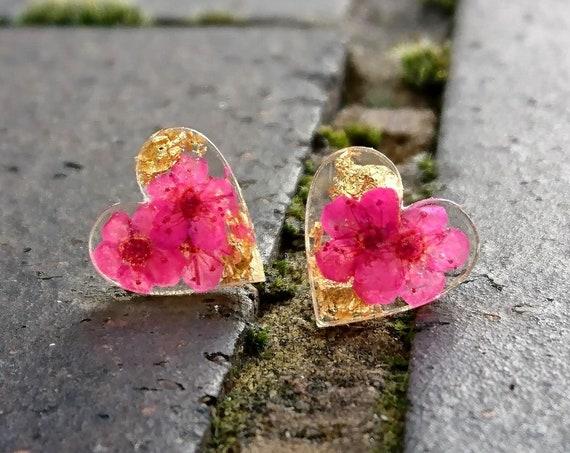 Pink Forget me not earrings, real flower jewellery, pressed flower earrings, heart shape earrings, earth jewelry, fairy earrings