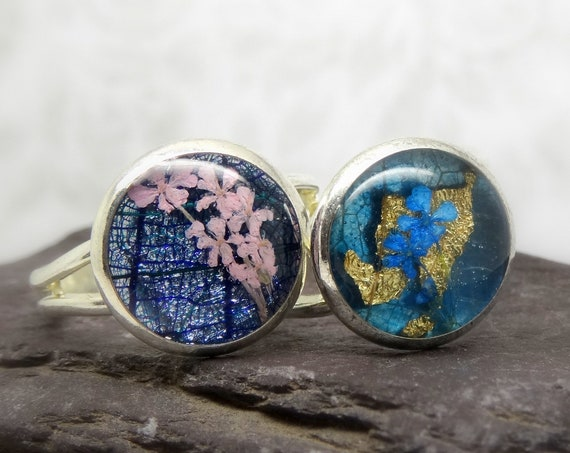 Real flower ring, unique jewellery, adjustable ring, handmade ring, real flower jewellery, resin jewellery