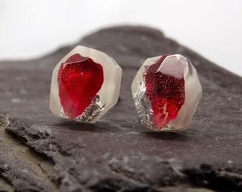 Real flower earrings, rose earrings, botanical handmade silver earrings, unique gift for her, real flower jewelry