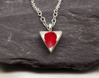 Rose necklace, real flower jewellery, minimalist necklace, handmade gift for her, real flower necklace