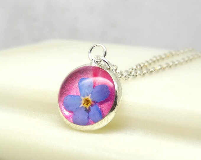 Featured listing image: Forget me not  necklace, real flower necklace, unique gift for her, terrarium necklace, real flower jewelry