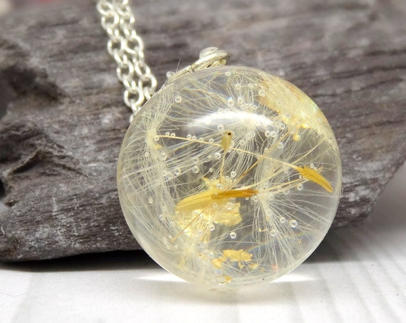Real Dandelion necklace, real flower necklace, real pressed flower jewellery, make a wish gift, handmade botanical jewellery