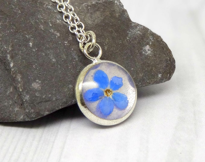 Featured listing image: Forget me not necklace, real flower necklace, unique gift, personalized gifts, botanical terrarium necklace, pressed flowers jewelry