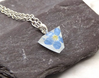Mini triangle necklace, forget me not necklace, real flower jewellery, handmade birthday gift, real flower necklace