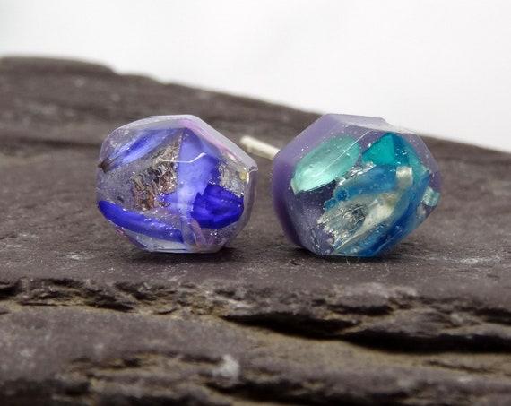 Real flower earrings, stud earrings, real flower jewellery, handmade silver earrings, unique gift for her, nature jewelry
