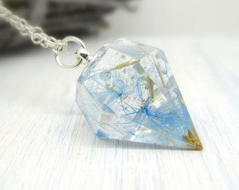 Blue dandelion real flower necklace, handmade botanical jewelry, unique gift idea, make a wish necklace