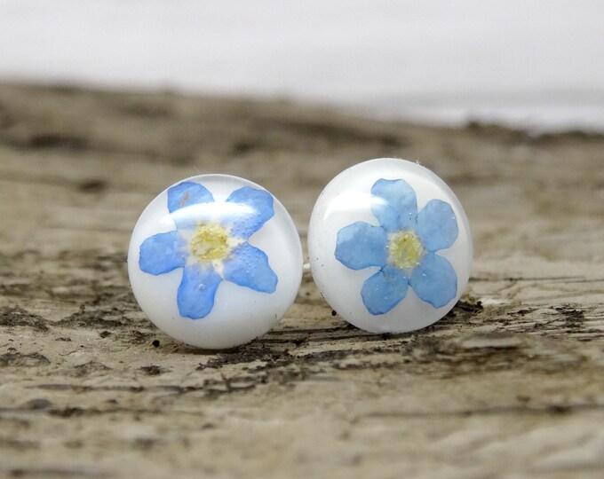 Featured listing image: Forget me not earrings, blue real flower jewelry, pressed flower jewellery, blue wedding earrings, something blue, petal jewellery