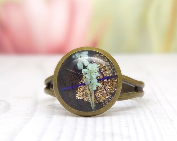Real flower ring, unique jewellery, adjustable ring, handmade ring, real flower jewellery, unique gift for her