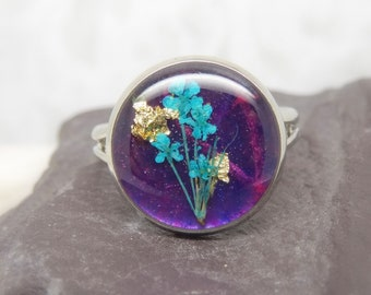 Real flower ring, handmade real flower jewellery, unique adjustable ring, resin jewellery, unique sister gift