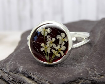 Real flower ring, unique adjustable ring, handmade real flower jewellery, pressed flowers jewelry, unique gift ideas