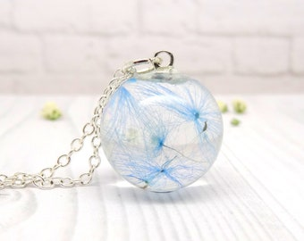 Blue dandelion real flower necklace, handmade real flower jewellery, unique make a wish gift, gift for her
