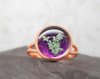 Real flower ring, unique adjustable ring, handmade real flower jewellery, resin jewellery, gift for her