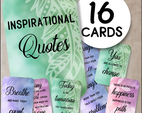 Set of inspirational quotes, inspirational sayings, motivational cards, inspirational cards, happy mail, positive affirmations cards
