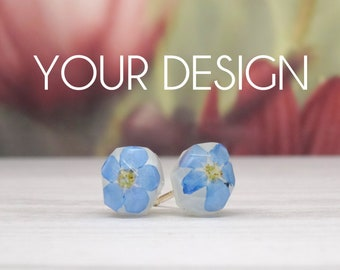 Real flower earrings, silver stud earrings, real flower jewellery, handmade resin earrings, design your own, sterling silver studs