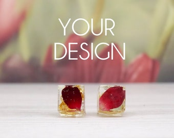 Real flower earrings, silver stud earrings, handmade real flower jewelry, personalised earrings, design your own, personalised gift