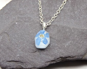 Forget me not necklace, mini necklace, real flower jewellery, handmade bridal gift, real flower necklace, unique gift idea