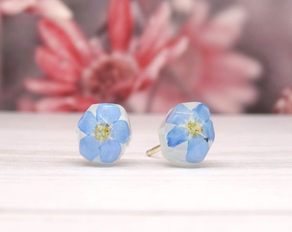 Forget me not earrings, real flower earrings, real flower jewellery, handmade silver earrings, gift for her, pressed flower jewellery