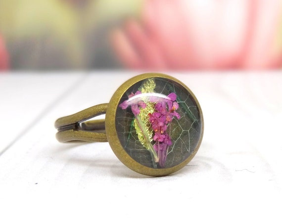 Real flower ring, unique adjustable ring, handmade ring, real flower jewellery, resin jewellery, Valentines gift for her