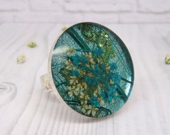 Real flower ring, real flower jewellery, statement ring, unique adjustable ring, handmade resin jewellery, pressed flower ring