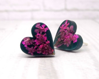 Real flower earrings, heart earrings, real flower jewelry, pressed flower jewellery, unique botanical gifts