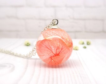 Hydrangea necklace, real flower necklace, real flower jewellery, handmade bridal jewellery, unique gift for her