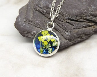 Real flower necklace, real flower dainty necklace, unique gift for her, real flower jewellery