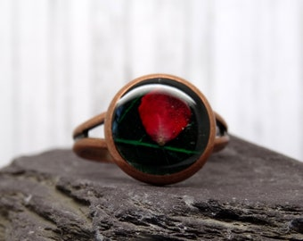 Real flower ring, pressed red rose ring, adjustable ring, handmade real flower jewellery, unique resin jewellery , girlfriend gift
