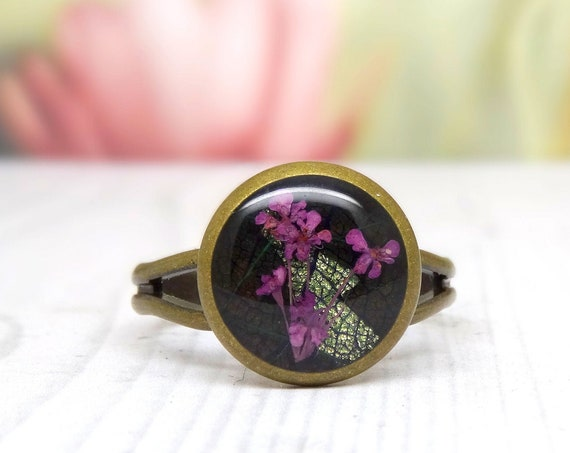 Real flower ring, unique adjustable ring, handmade ring, real flower jewelry, pressed flowers