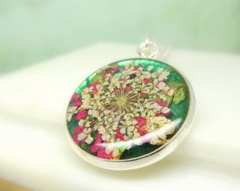 Real flower necklace, handmade resin jewellery, unique gift for her, real flower jewelry