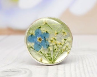 Forget me not pin, pressed flower gifts, real flower jewelry, real flower accessories, real flower brooch, unique gifts for nature lovers