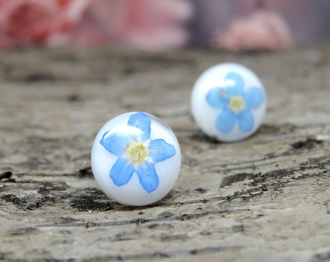 Featured listing image: Forget me not earrings, small blue real flower earrings, floral jewellery, blue wedding earrings, bridal jewelry, pressed flowers