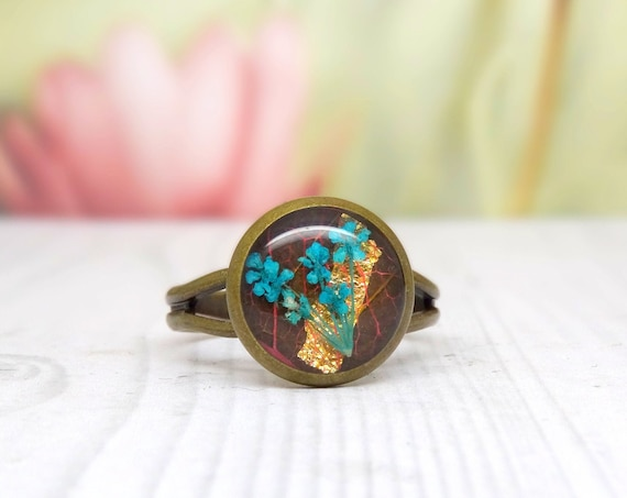 Real flower ring, unique adjustable ring, handmade ring, real flower jewellery, resin jewellery