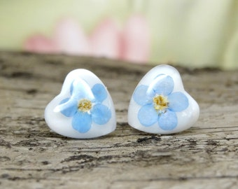 Forget me Nots Earrings, Real Flower Earrings, Something Blue, Floral Jewelry, Pressed Flower Earrings, Nature Jewelry, Resin Earrings