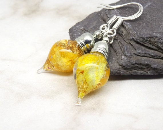 Sunflower earrings, real flower earrings, nature wedding jewellery, happy gift for her, pressed flower earrings