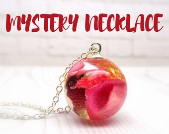 Mystery necklace, real flower necklace, pressed flower jewellery, eco friendly jewelry, surprise jewellery, mystery box