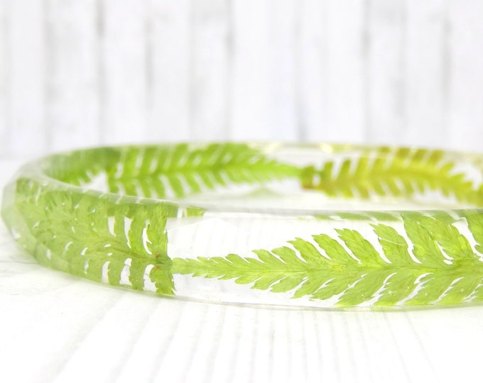 Featured listing image: Real flower bangle, real flower bracelet, fern real flower jewellery, unique statement resin jewelry, bangle bracelet