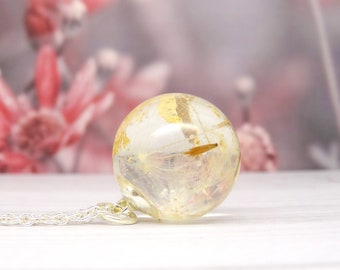 Dandelion necklace, real flower necklace, real flower jewellery, dandelion pendant, make a wish gift for her, handmade resin jewellery