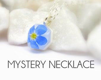 Mystery necklace, real flower necklace, real flower jewellery, surprise gift, handmade unique gift, gift box, surprise jewellery