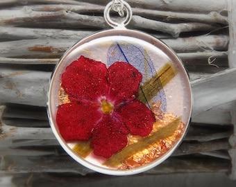 Verbena necklace, nature jewellery, resin jewellery, flower jewellery, botanical, handmade necklace, girlfriend gift, valentines gift
