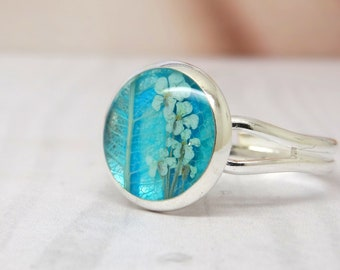 Real flower ring, adjustable ring, handmade real flower jewellery, vegan friendly gifts, pressed flowers jewelry, unique gift ideas