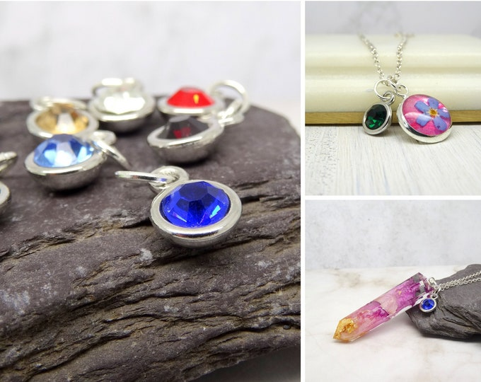 Featured listing image: Birthstone charm, add your birthstone to a necklace or bracelet, personalised gift idea, birth month unique gifts