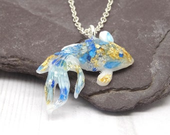 Real flower necklace, fish good luck necklace, handmade necklace, koi fish pendant, real flower jewellery, unique koi gift idea